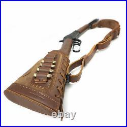 1 Set Leather Rifle Shell Holder + Matched Gun Cartridges Sling Strap + Swivels