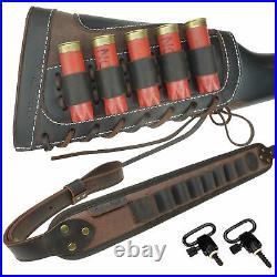 1 Set Shotgun Ammo Buttstock + Matched Rifle Sling For 12 Gauge, Leather Canvas
