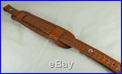 1 wide Handmade tooled genuine Leather Rifle Sling with 2 tooled Shoulder pad