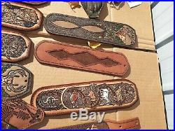 22pc Lot of Hand Tooled Leather/Hunting Rifle Sling Shoulder Pads