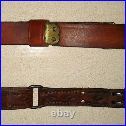 2 USA BOYT & Hunter Leather Rifle Shoulder Strap Sling Tooled Leather Sling