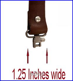 Adjustable Slider Buckle Rifle Sling Brown Buffalo Leather with Silver Hardware