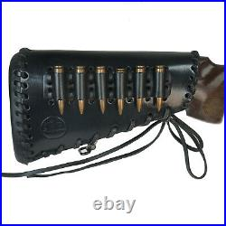 All Leather Rifle Buttstock Cover with Matched Gun Sling Ammo Shell Holder Black
