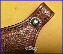 Arvo Ojala Custom Tooled BRUNO Brown Leather Double Cobra Gun Sling RARE