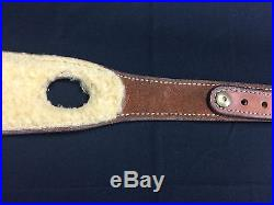 Basket weave Bianchi Cobra Grande #73 sheep fleece lined leather rifle sling +QD