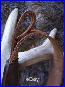 Beautiful Vintage Pathfinder Brown Deer Elk Ram Trees Carved Padded Rifle Sling