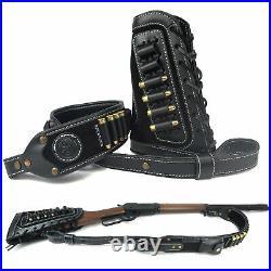 Black Leather Rifle Sling + Gun Buttstock For. 30-06.30-30.45-70.44-40.44