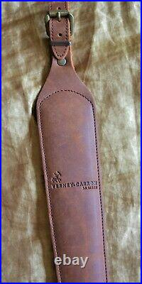Brown Leather Cobra Hunting Rifle Sling Padded with non-slip grip back