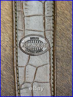 Brown Leather Rifle Sling S Monogram, Handcrafted in the USA, Economy AA