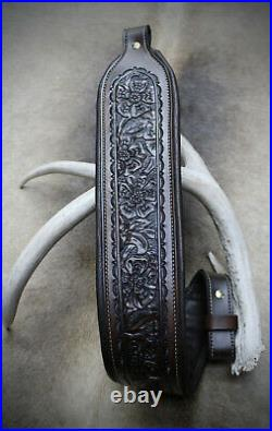 Brown Leather Rifle Sling, Yuma Made by Seelye Leather Works in USA
