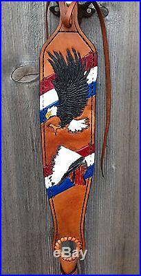 Custom Hand Made Leather Rifle Sling, Hunting, Padded, Thumb Hole, Tooled