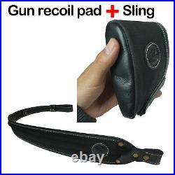 Canvas Leather 1 Set Rifle Shotgun Recoil Pad Gun Protector + Matched Sling USA