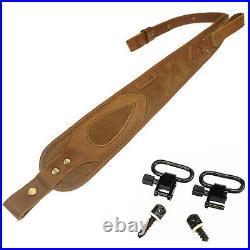 Cobra Style Buffalo Cow Leather Rifle Gun Sling, Padded Handmade Shortgun Strap