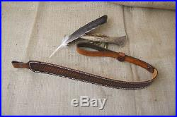 Custom Handmade Leather Rifle Sling Lined with Real Sheep Wool Baslet Pattern