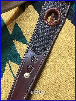 Custom leather Hand Carved Rifle Sling For 45-70 Caliber Rifle! Made In The USA