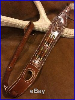 Custom leather padded rifle sling with thumbhole and bullet loop's made in USA