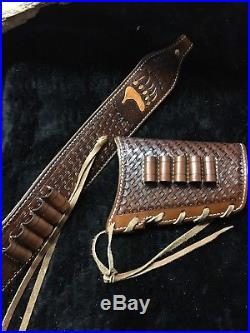 Custom leather sling stock wrap Made in the USA Henry model H010B 45-70