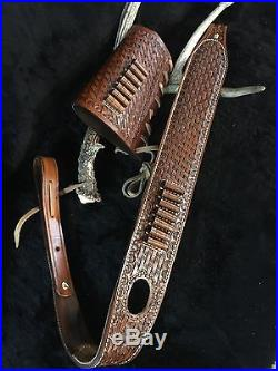 Custom leather sling stock wrap for a Marlin model 336