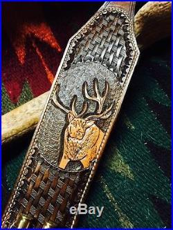 Custom order bull elk full oak leaf scroll! No bullet loops with thumbhole