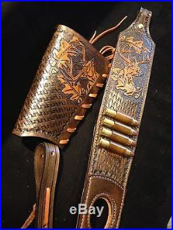Custom order leather sling and stock wrap for a Marlin model 1895 45-70