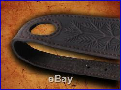 Genuine Leather Rifle / Shotgun sling with 5 pic. Of animals anti slip Suede