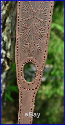 Genuine Leather Rifle or Shotgun sling decorated Wild boar anti slip Neoprene