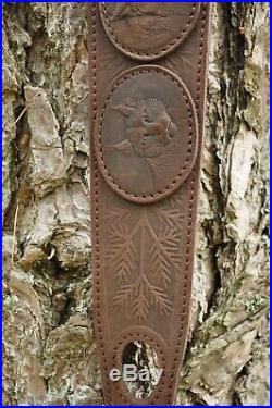 Genuine Leather Rifle or Shotgun sling decorated with pictures of animals