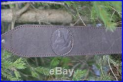 Genuine Leather Rifle or Shotgun sling decorated with wild boar