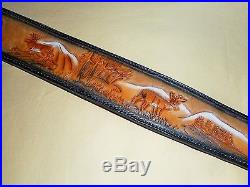 Hand Tooled Leather Padded Rifle Sling Adjustable Length 2 Deer-Trees-Wolf-Moon