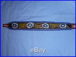 Hand Tooled Leather Padded Rifle Sling Adjustable Length Blue Flowers-Greenery