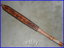 Hand Tooled Leather Padded Rifle Sling Adjustable Length Leaves & Basket Weave