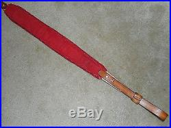 Hand Tooled Leather Padded Rifle Sling Adjustable Length Red Roses-Trim-Leaves