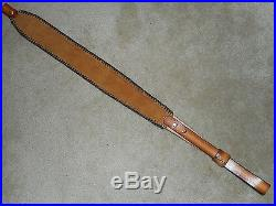 Hand Tooled Leather Padded Rifle Sling Adjustable Length Scene with Couger+Deer