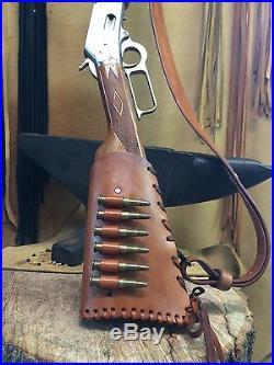 Handmade Leather Gun Stock Cover Shell Holder Sling Hunting Western