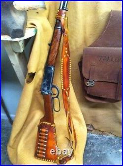 Handmade Leather Gun Stock Cover Shell Holder Sling No Drill Western SASS CAS