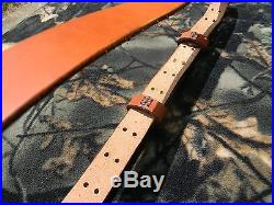 Handmade M1907 Leather Military Rifle Sling, 1.25 Inches Wide-TAN