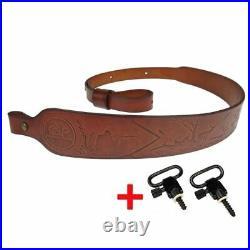 Hunting Leather Rifle Sling Shotgun Belt Adjustable Shoulder Padding Shooting Ta
