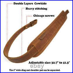 Leather Gun Sling, Gun Shoulder Strap for Rifle Shotgun Tactical Universal UK