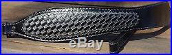 Leather Hand Tooled Gun Metal Diamond Basket Weave Rifle Sling