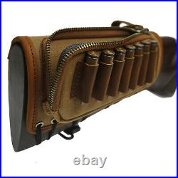 Leather Rifle Buttstock Ammo Carrier Cartridge Holder with Matching Gun Slings