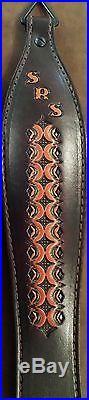 Leather Rifle Sling -British Tan Hand Tooled Diamond Fire Design