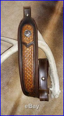 Leather Rifle Sling, Brown Leather, Hand Carved and Tooled, Made in the USA