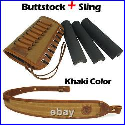Leather Rifle Sling with Match Gun Buttstock Ammo Holder for 30-06,308,45-70