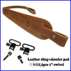 Leather Rifle Sling with Shoulder Pad Shotgun Straps, 1 QD Swivels UK Stock NEW