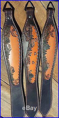 Leather Rifle Slings Multiple Wildlife Scenes