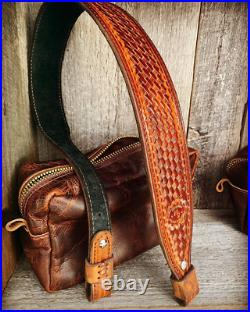 Leather Rifle Strap Hand Tooled Two Tone Gun Sling Handmade Personalized