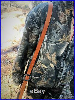 Leather Strap Gun Sling Adjustable with Swivels -Made in USA