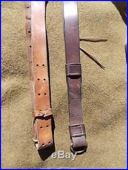 Lot Of Six, Vintage, Leather Rifle Slings, One, Military Canvas