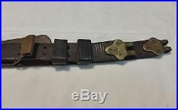 M1907 Military Leather Rifle Sling, Brass Hooks Clip Springfield 1903, Garand