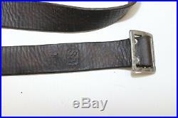 Mosin Nagant brown leather rifle sling marked SA T w button 48L x 7/8w E8899